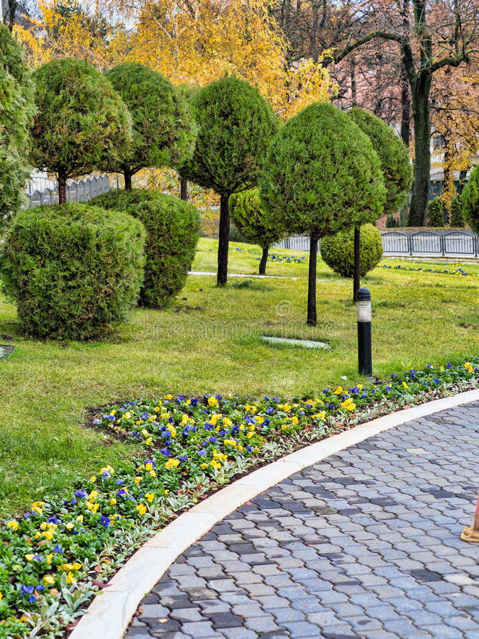 Hotel garden and patio. Nicely arranged garden and patio around luxurious hotel in Arandjelovac, central Serbia stock image
