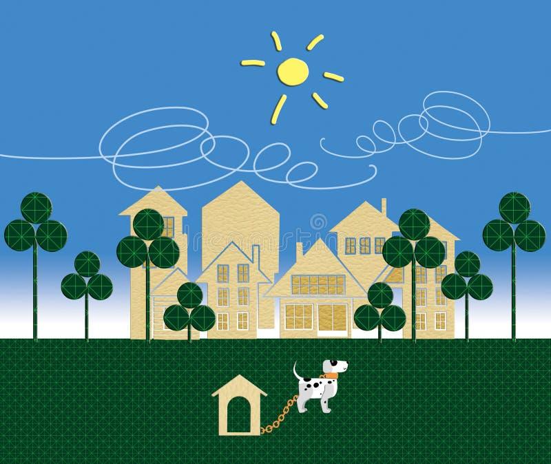 Hotel-Gesch?ft r?cksortierung Der Hund im Standschutz ein Gruppe Häuser Humorvolle Abbildung vektor abbildung