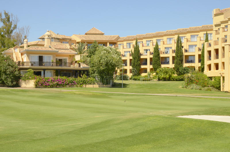 Hotel In Golf Course Stock Photo