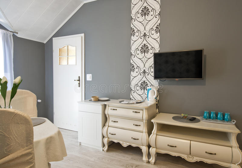 Hotel or guest house elegant room stock photos