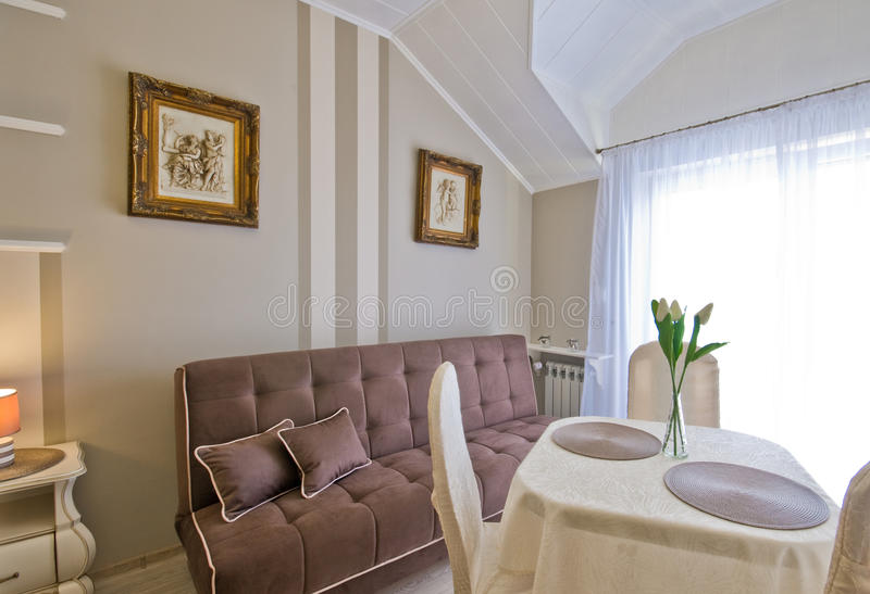 Hotel or guest house elegant room stock image