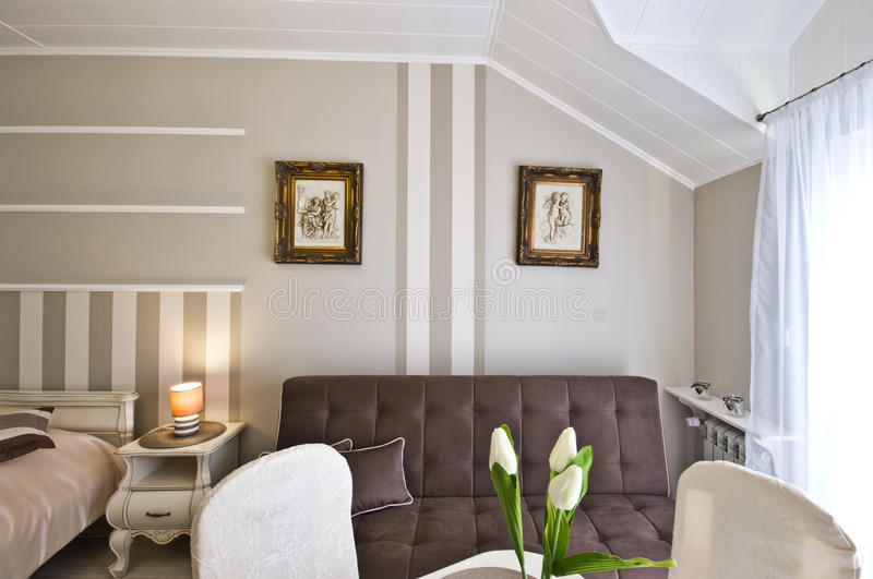 Hotel or guest house elegant room stock photography
