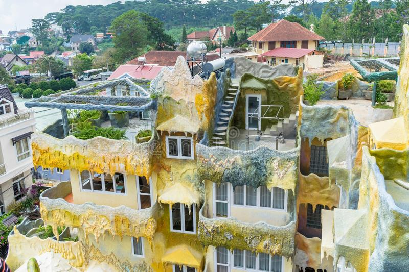 Hotel of gypsum in crazy house with balcony in Dalat Vietnam. Hotel of yellow gypsum in crazy house with balcony in Dalat Vietnam, building, travel, urban stock photo
