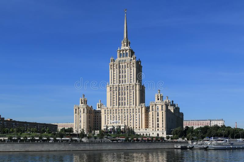 Moscow, Russia - June 16, 2018: Radisson Collection Hotel on Taras Shevchenko Embankment in the morning royalty free stock image