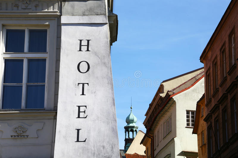 Hotel in historical building of Prague stock photo