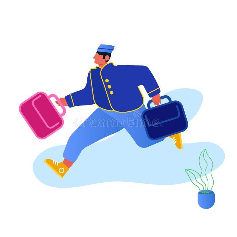 Hotel Hospitality Service Concept Bell Boy Carrying Suitcases geïsoleerd op witte achtergrond Bellman Male Hotel Worker royalty-vrije illustratie