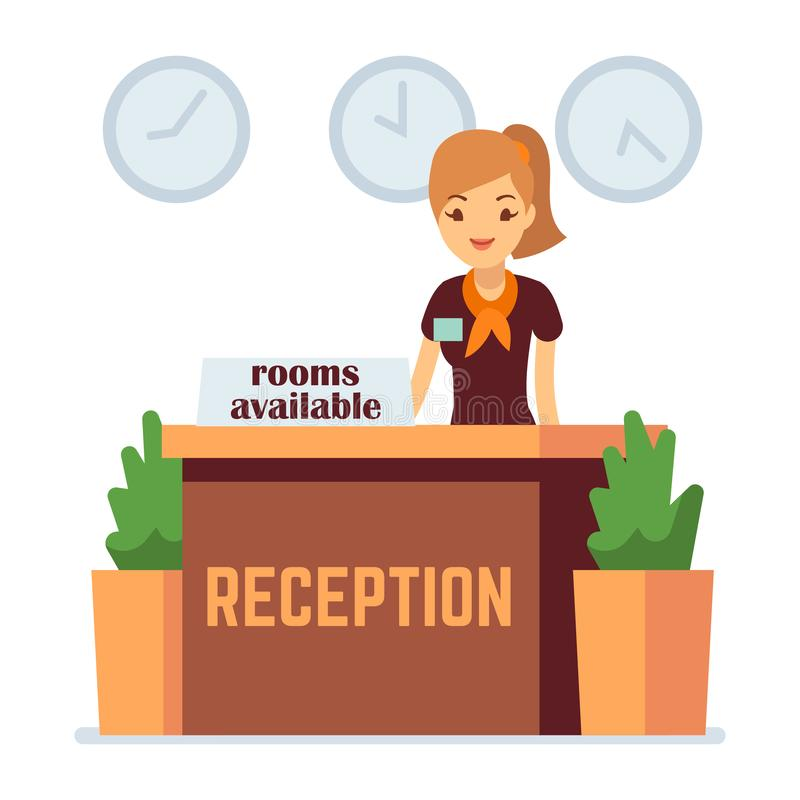 Hotel or hostel reception with cartoon girl. Rooms available vector concept. Hotel receptionist, reception desk service illustration royalty free illustration