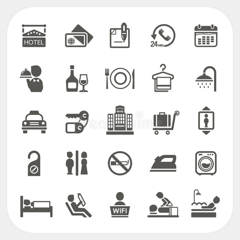 Download Hotel And Hotel Services Icons Set Stock Vector - Image: 37763571