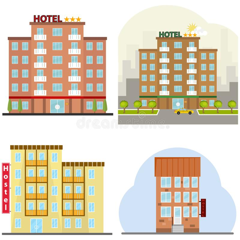 Hotel, a hotel suite, a hostel, a place to stay overnight. Flat design, illustration vector illustration