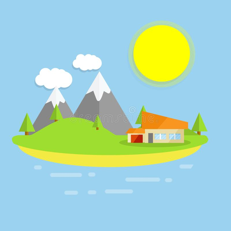 Hotel house on the island. Outdoor recreation - cartoon flat illustration. Orange building on a green lawn. Forest, clouds and sun - a natural landscape. Sea stock illustration