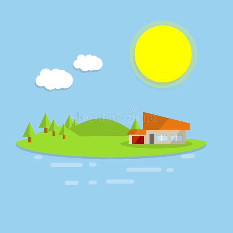 Hotel house on the island. Outdoor recreation - cartoon flat illustration. Orange building on a green lawn. Forest, clouds and sun - a natural landscape. Sea royalty free illustration