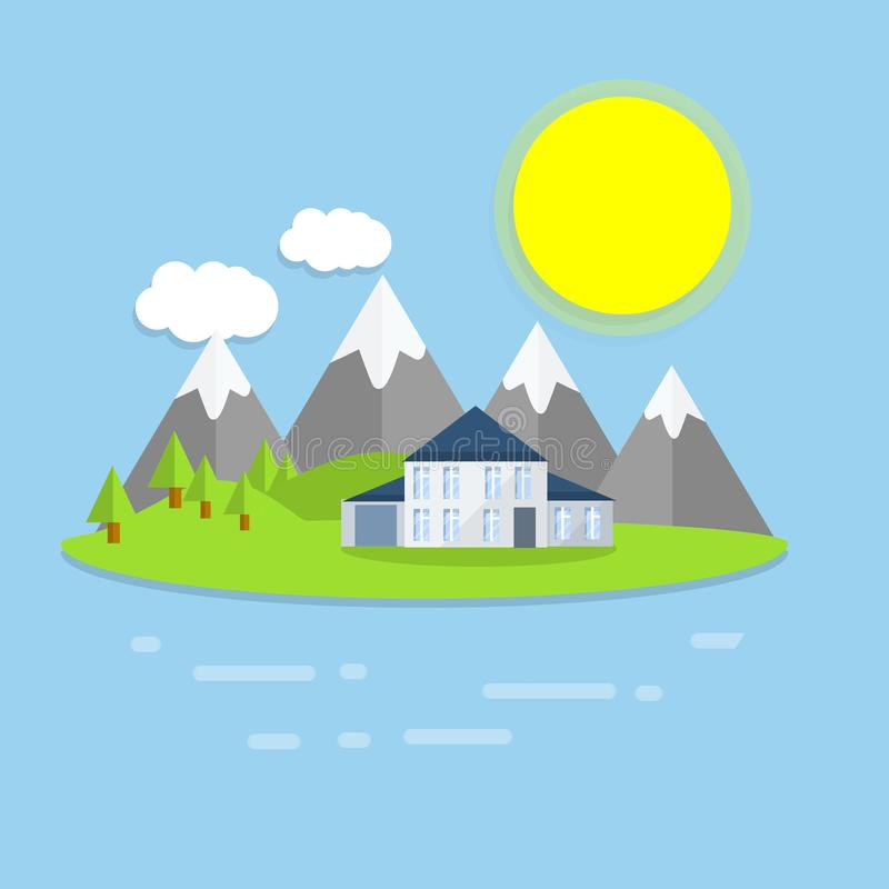 Hotel house on the island. Outdoor recreation - cartoon flat illustration. White building on a green lawn. Group of mountains in the background. Forest, clouds stock illustration