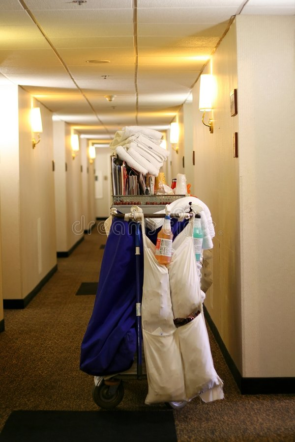 Hotel house keeping cart. For cleaning rooms royalty free stock photography