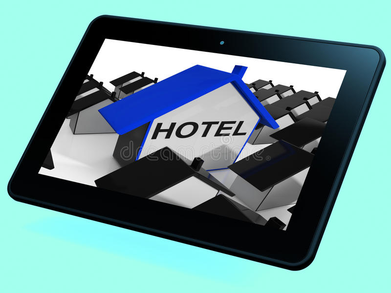 Hotel House Tablet Shows Place To Stay And Units. Hotel House Tablet Showing Place To Stay And Units stock illustration