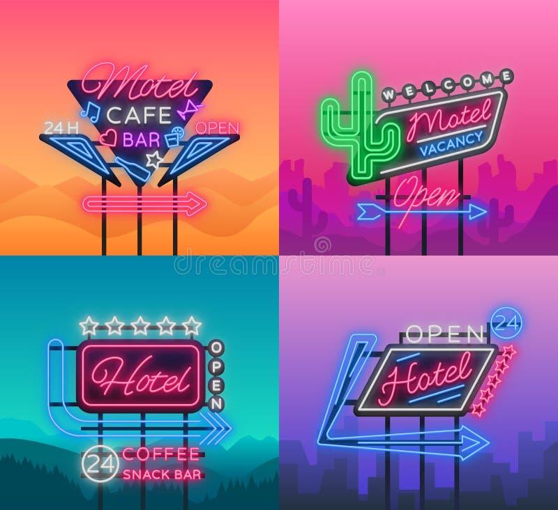 Hotel i motel jesteśmy kolekcją neonowi znaki wektor ilustracja wektor