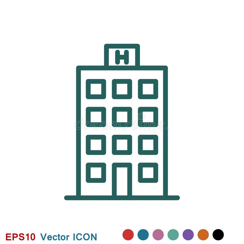Hotel icon logo, illustration, vector sign symbol for design royalty free illustration