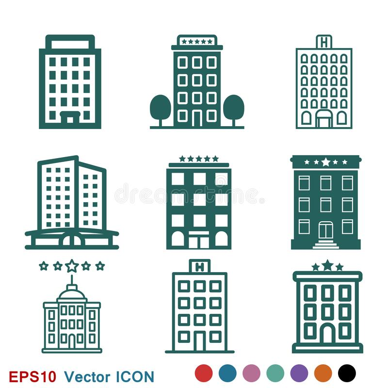 Hotel icon logo, illustration, vector sign symbol for design stock illustration