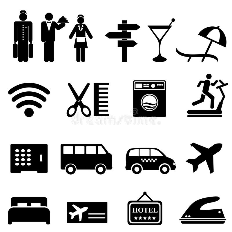 Download Hotel icon set stock vector. Image of hairdresser, airport - 28113809
