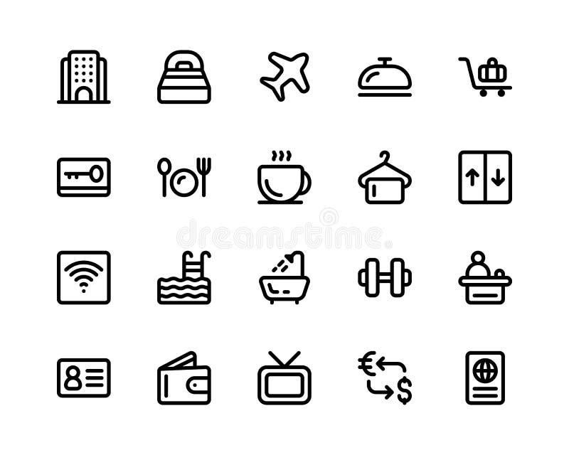Hotel Icon set. black line illustration vector isolated stock illustration