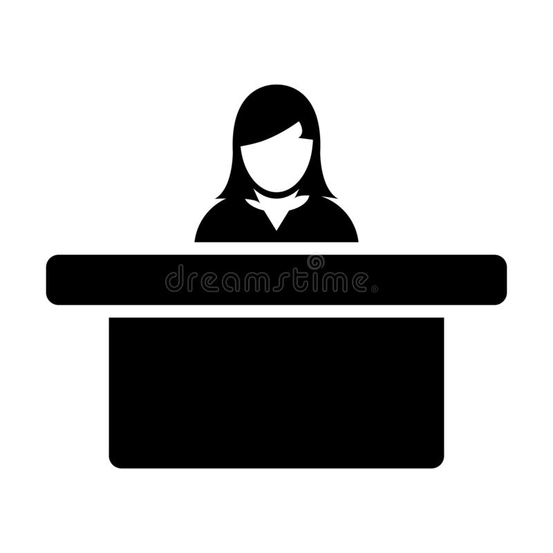 Hotel icon vector female person avatar symbol with table for reception and accommodation in flat color glyph pictogram. Illustration royalty free illustration