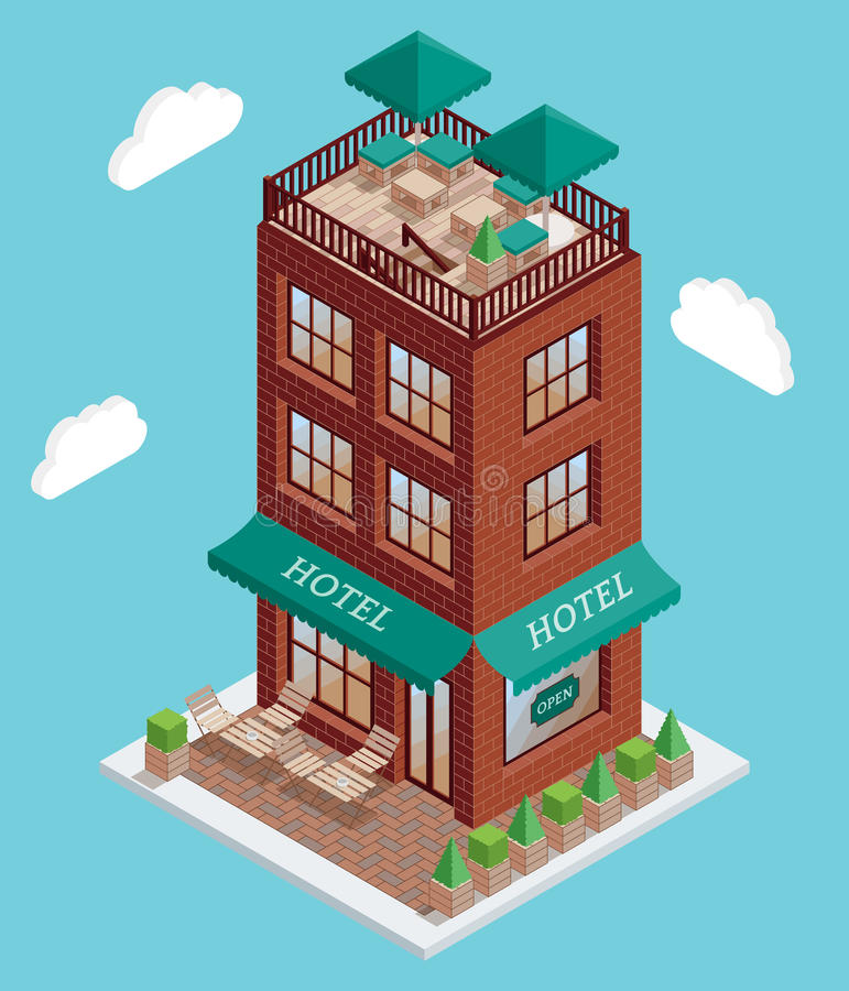 Hotel icon in vector isometric style. Illustration in flat 3d design. Hotel building isolated element. City urban vector illustration