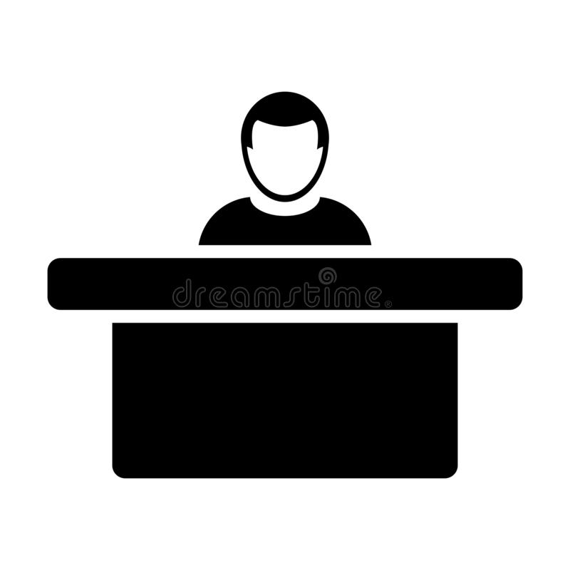 Hotel icon vector male person avatar symbol with table for reception and accommodation in flat color glyph pictogram. Illustration stock illustration