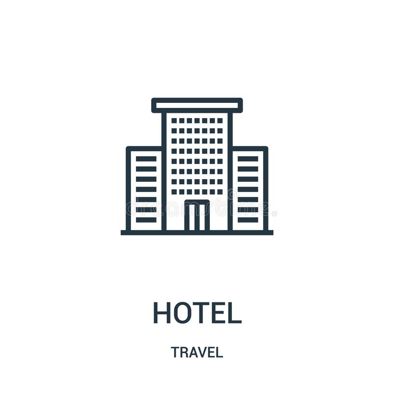 hotel icon vector from travel collection. Thin line hotel outline icon vector illustration. Linear symbol for use on web and royalty free illustration