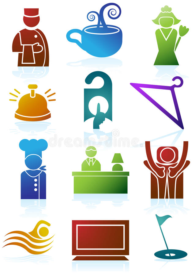 Download Hotel Icons stock vector. Illustration of hanger, cook - 9382880