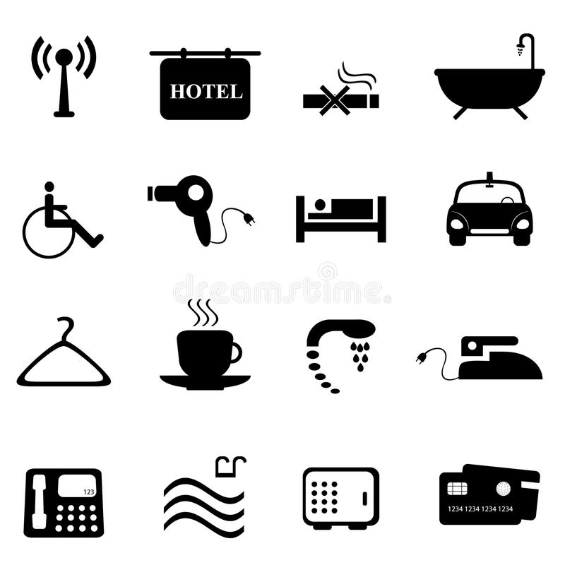 Hotel icons in black vector illustration