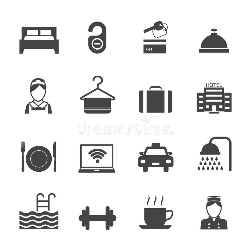 Hotel Icons Black. Hotel business accommodation elements black icons isolated vector illustration vector illustration