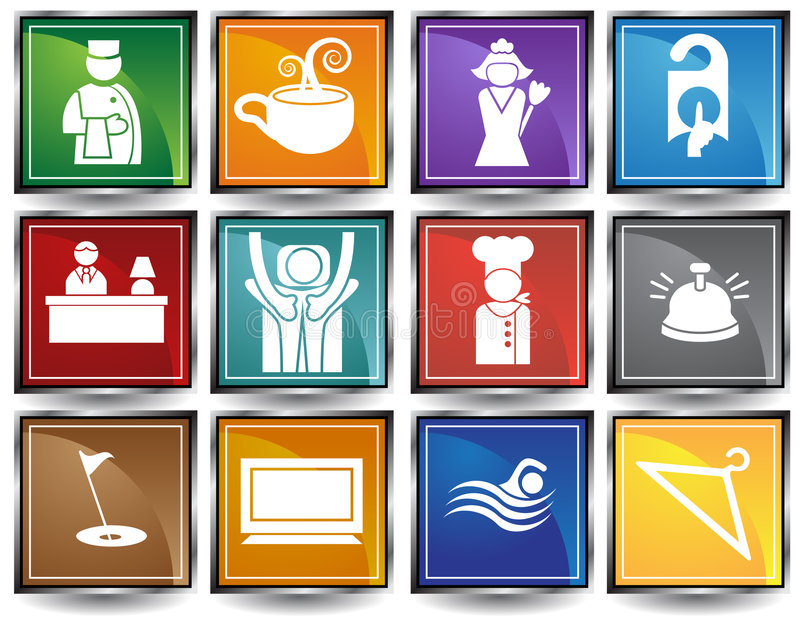 Download Hotel Icons / Buttons stock vector. Image of element, chef - 9265102