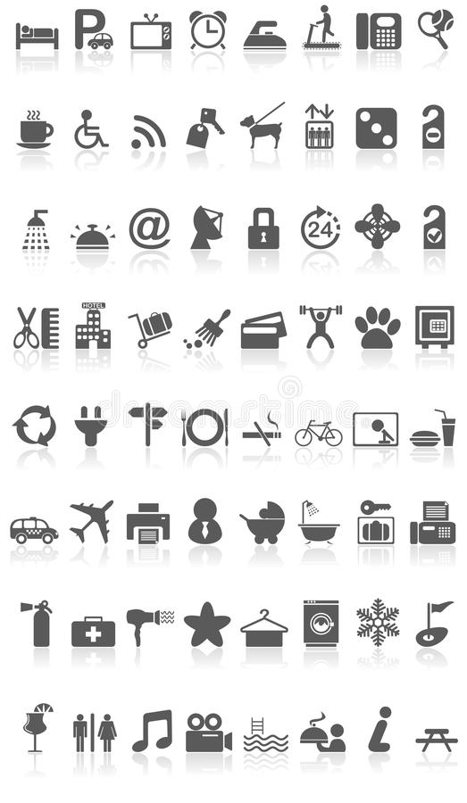 Hotel Icons Collection Black on White. Illustration featuring collection of 64 grey black hotel icons or symbols with reflection isolated on white background stock illustration