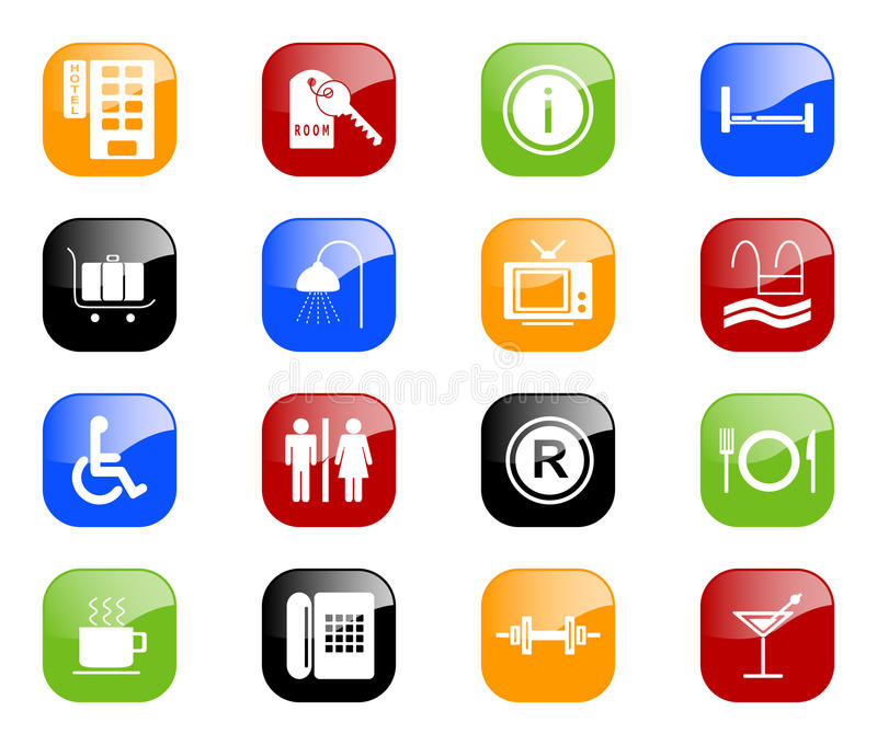Hotel icons - color series vector illustration