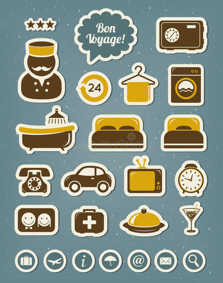 Download Hotel icons stock vector. Image of icons, food, clothes - 30419067