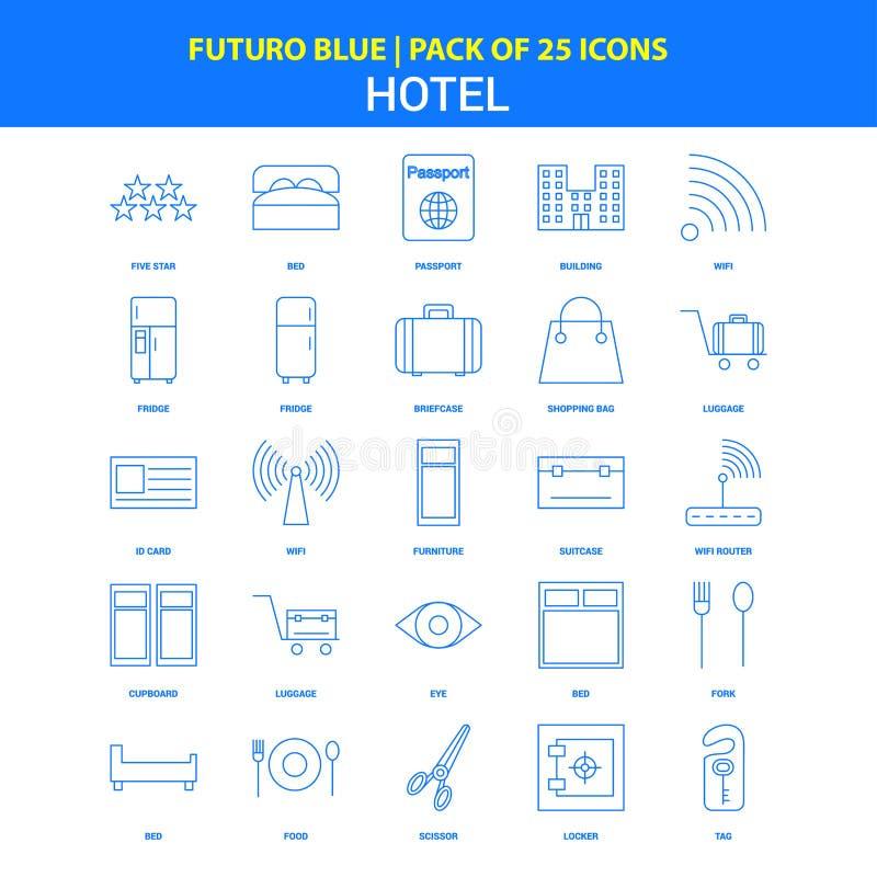 Hotel Icons - Futuro Blue 25 Icon pack royalty free illustration