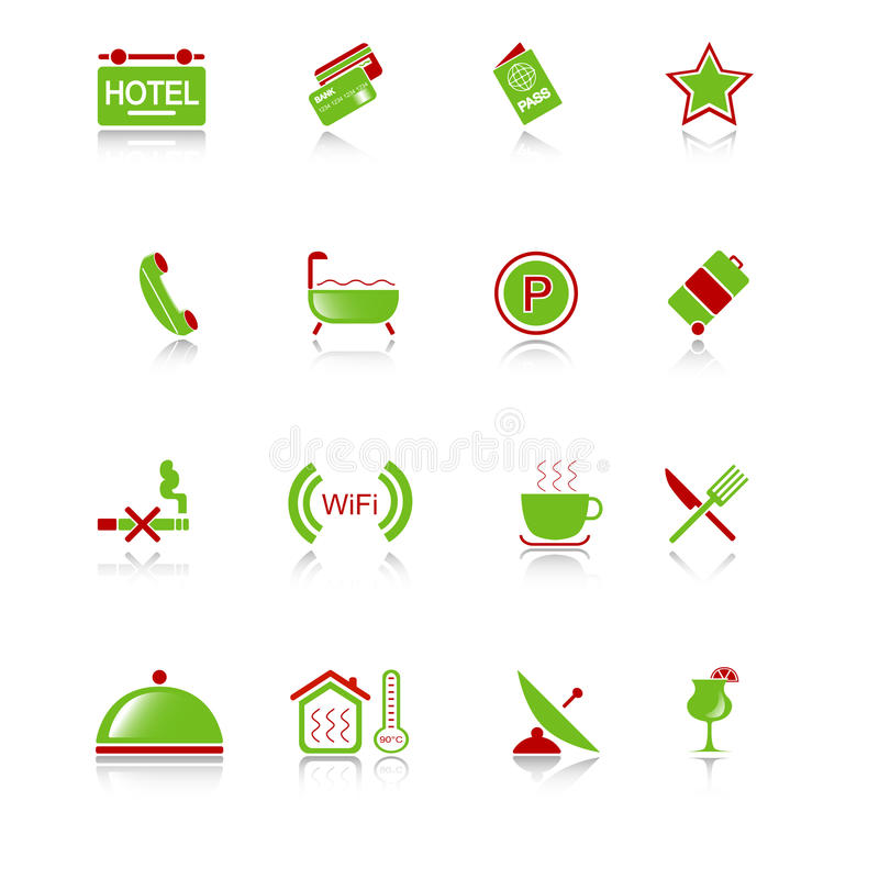 Hotel Icons - Green-red Series Royalty Free Stock Photos
