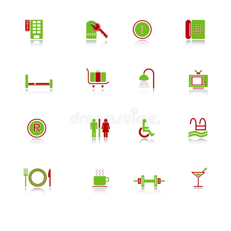 Download Hotel Icons - Green-red Series Stock Vector - Image: 9963727