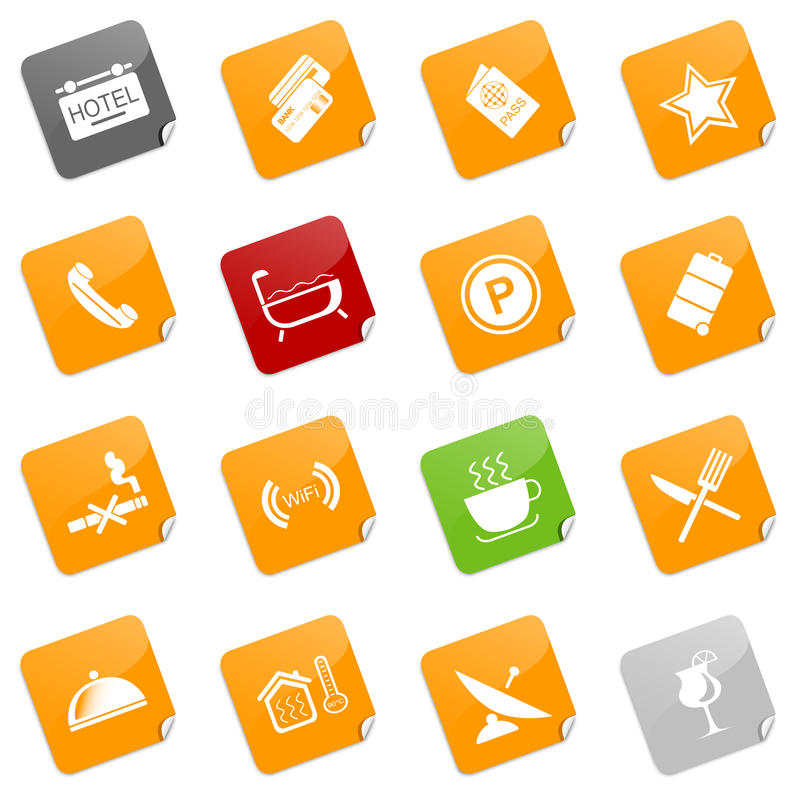 Hotel icons I - sticky series. Set of 16 different icons related to the hotel and accommodation business. Additional format includes each icon in 5 colors stock illustration