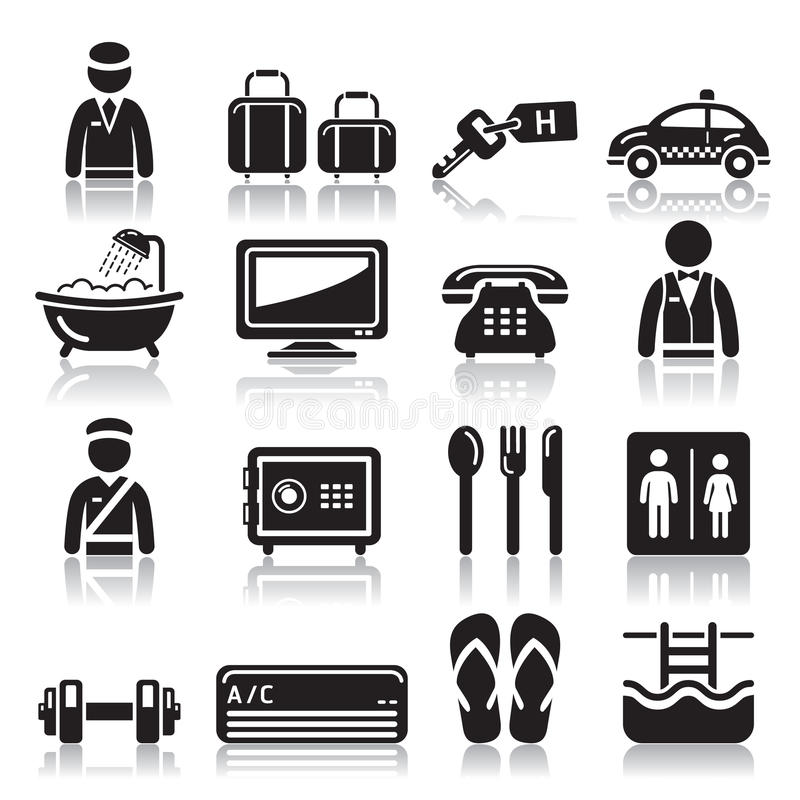 Hotel Icons Set. Stock Vector