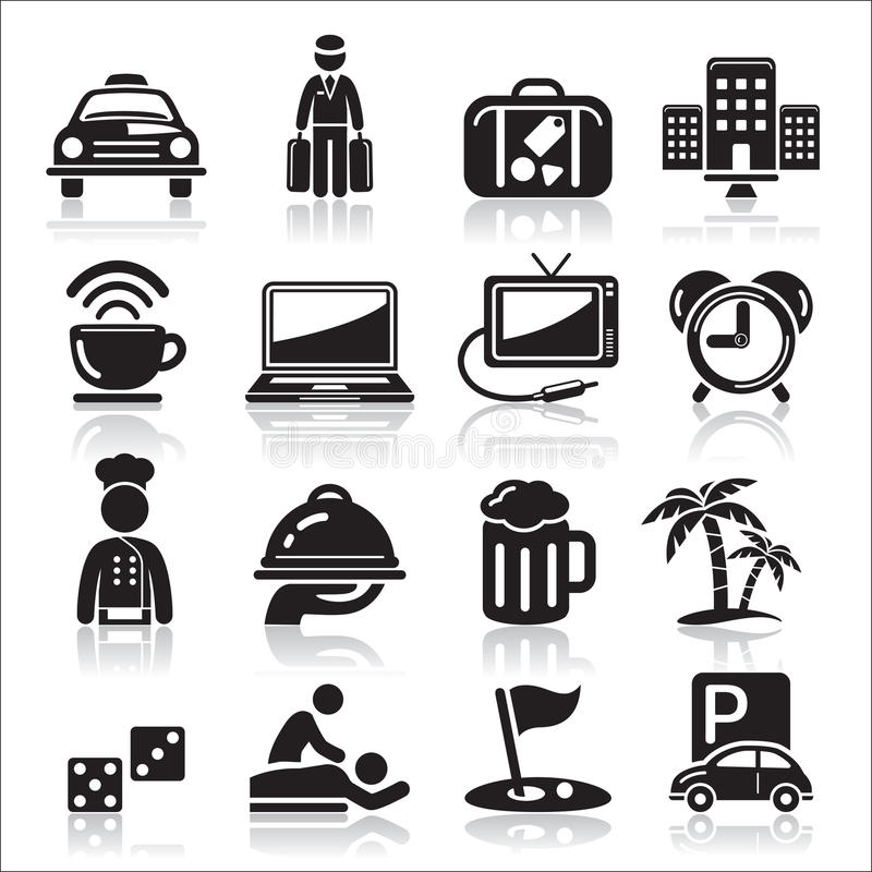 Download Hotel icons set. stock vector. Image of pictogram, coconut - 38946230