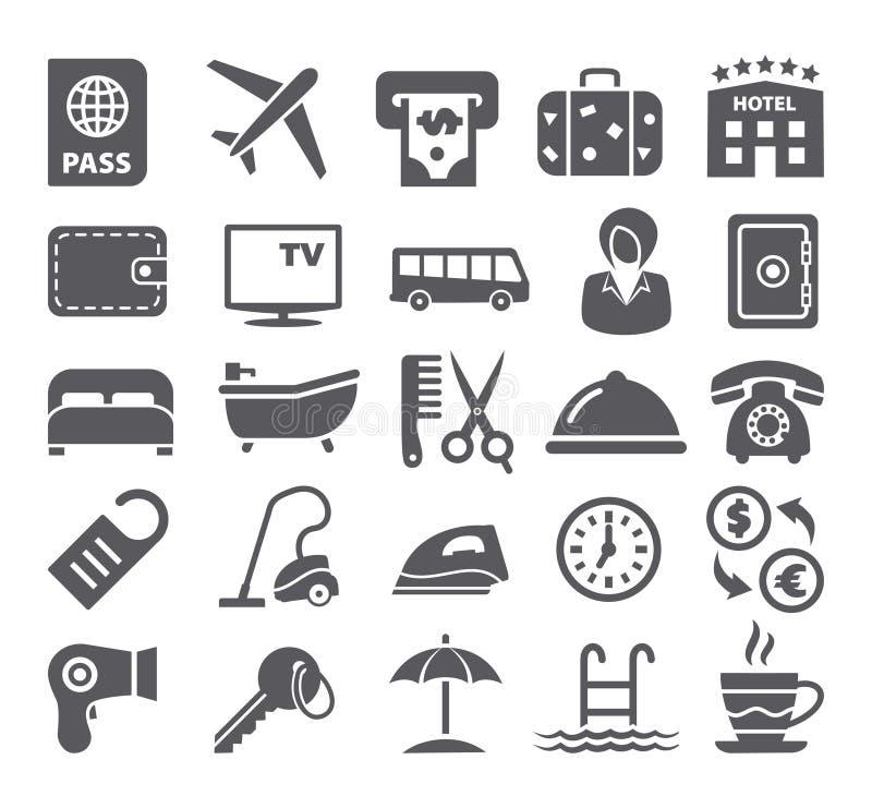 Hotel icons set. On white background royalty free illustration
