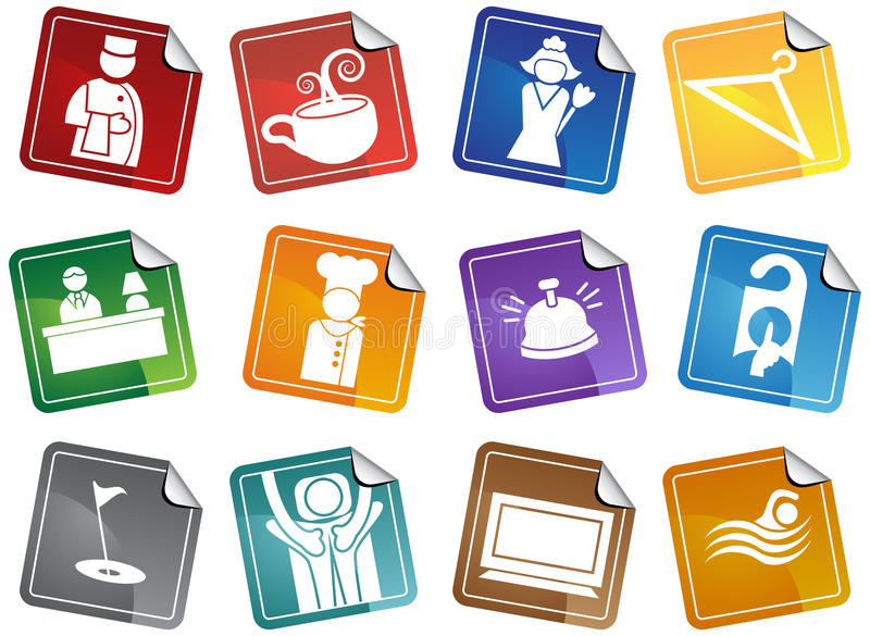 Download Hotel Icons - Sticker Set stock vector. Illustration of cleaners - 9990534