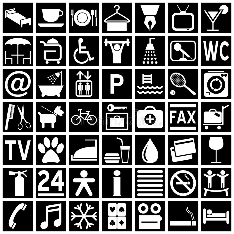 Hotel Icons - White on Black. Collection of 49 white hotel icons (or symbols) isolated on black background. Eps file available stock illustration