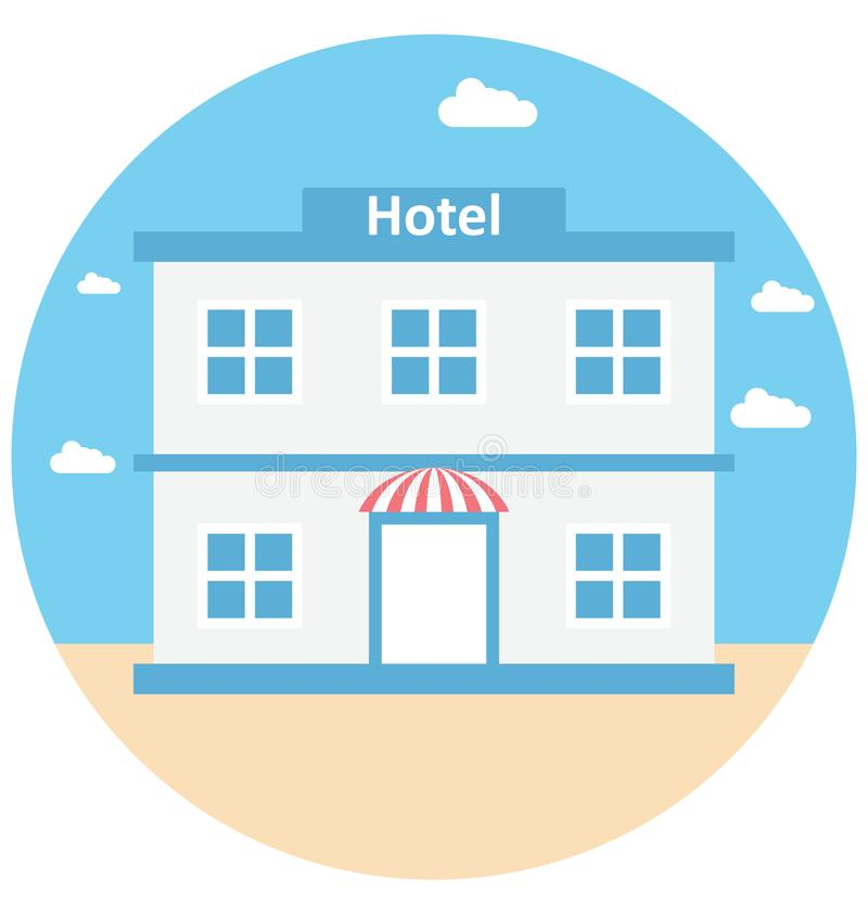 Hotel Illustration Color Vector Isolated Icon easy editable and special use for Leisure,Travel and Tour stock illustration