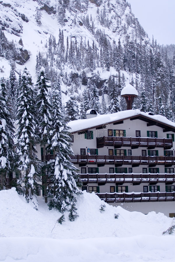 Free Hotel In Snow Vertical Stock Photography - 4263922