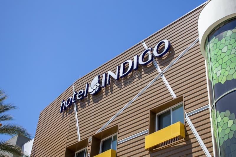 Hotel Indigo-teken royalty-vrije stock afbeeldingen
