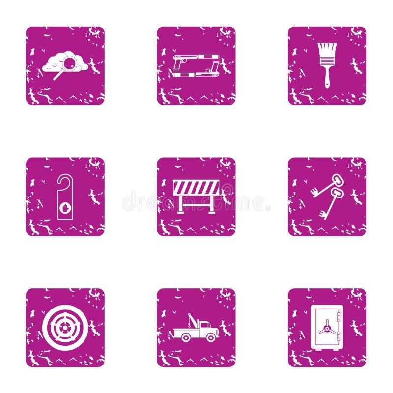 Hotel industry icons set, grunge style. Hotel industry icons set. Grunge set of 9 hotel industry vector icons for web isolated on white background stock illustration