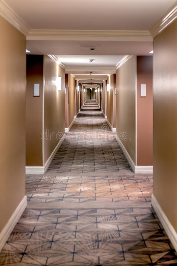 Hotel Brown Infinite Hall. Hotel Infinite Hall that remembers the classic movie The Shining stock photography