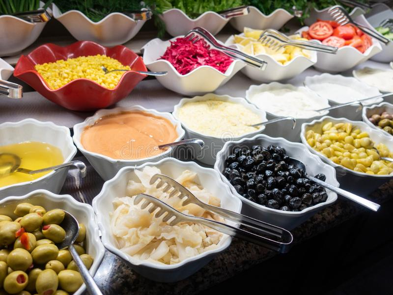 Hotel interior, buffet table, dessert, all inclusive stock photography