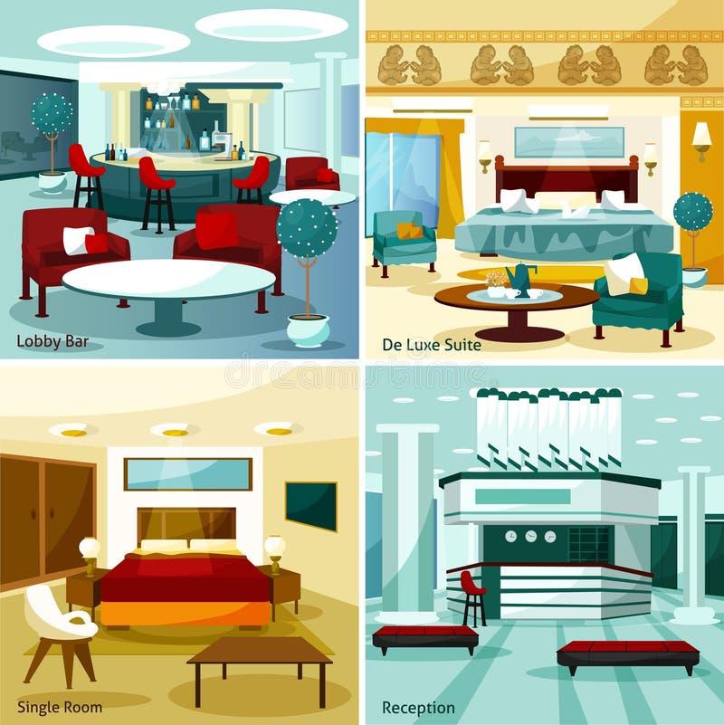 Hotel interior 2x2 design concept stock vector for Colorful concepts interior design